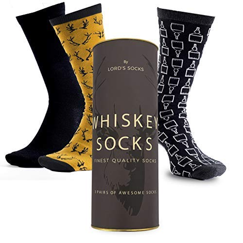 Lord's Rocks 3 Pair of Whiskey Socks in Gift Box If you can read it Bring Whisky Novelty Funny Bottle dad Men Birthday Holiday