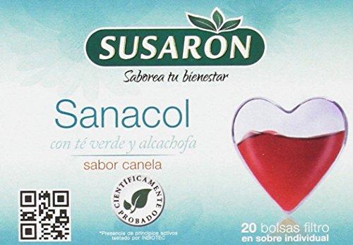 Susarón Sanacol con Té Verde y Alcachofa Sabor Canela - 60 bolsitas para infusionar