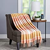 Lavish Home Desert Blush Plaid Soft Blanket-Oversized, Luxuriously Fluffy, Vintage-Look and Cashmere-Like Woven Acrylic-Breathable and Stylish Throws