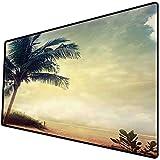 Tappetino per mouse da gioco [600x300 x 3 mm],Tramonto sulla spiaggia hawaiana e naturale con palme sagome arbusti nuvole di mare e paesaggio di s Base antiscivolo 45x45cm