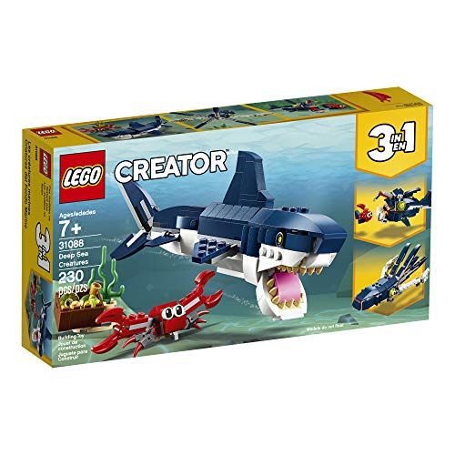 Product Image 7: LEGO Creator 3in1 Deep Sea Creatures 31088 Make a Shark, Squid, Angler Fish, and Crab with this Sea Animal Toy Building Kit (230 Pieces)
