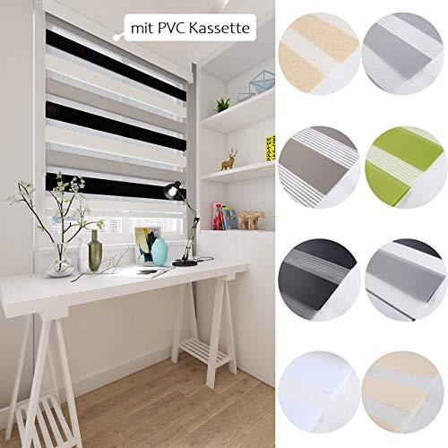 interGo Doppelrollo Klemmfix Ohne Bohren 100cm x 160cm Duo Rollo, Zebrarollo Seitenzugrollo Easyfix für Fenster & Türen - Mixed