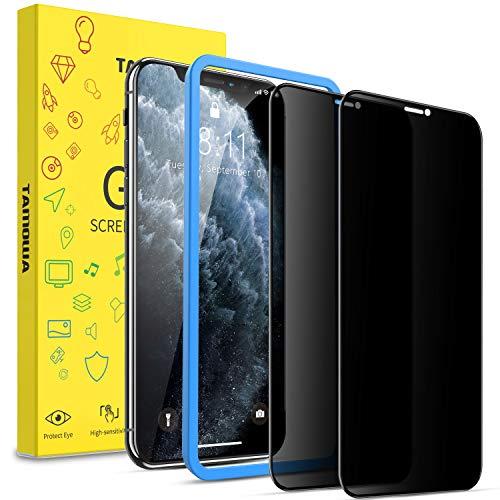 TAMOWA Privacy Pellicola Vetro Temperato per iPhone 11 PRO Max/iPhone XS Max (2 Pezzi), 3D Copertura Completa Pellicola Protettiva Anti-Spia in Vetro Temperato per iPhone 11 PRO Max/XS Max, Nero