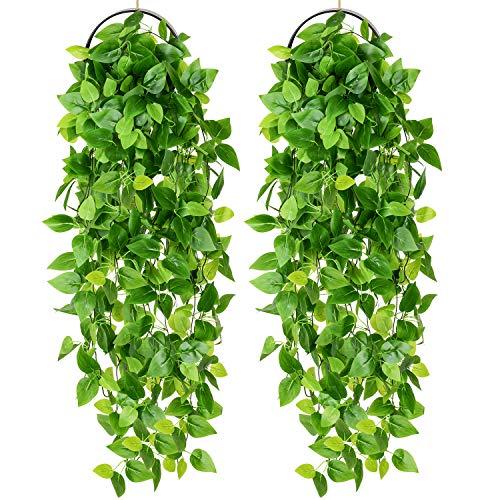 YQing 2 Piezas Artificial Hiedra Planta Colgante, Artificiales Verde Hojas de Hiedra Falsas para Pared Hogar Porche Jardín Valla Decoración
