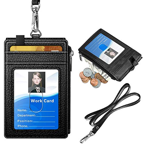 ELV Badge Holder with Zipper, PU Leather ID Badge Card Holder Wallet with 5 Card Slots, 1 Side RFID Blocking Pocket and 20 inch Neck Lanyard Strap for Offices ID, School ID, Driver Licence (Black)