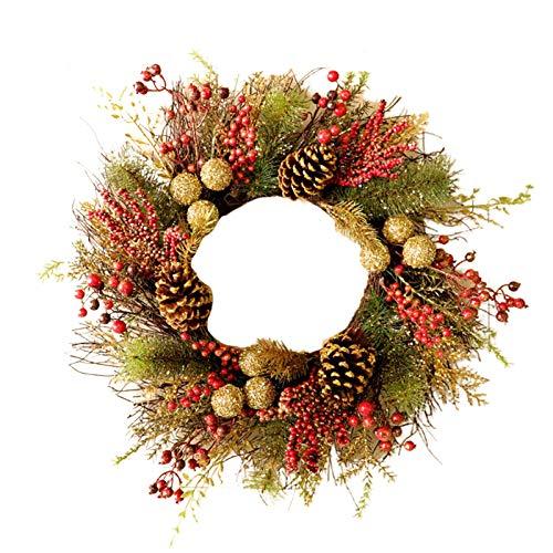 Guirnalda de Navidad con diseño de bayas rojas artificiales de pino y hojas verdes, guirnalda de coronas de Navidad, para colgar en la pared, decoración de la boda
