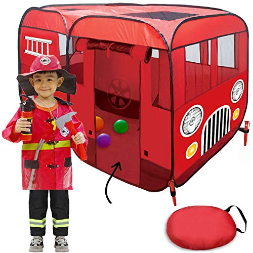 Big Fire Truck Tent (Without Step) Spacious Playhouse for Kids, Toddlers, Boys, Girls and Children – This Pop Up Play Tent Can Fit Crib Bed - Pretend Play as Fireman Sam Indoor or Outdoor