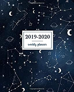 2019-2020 Weekly Planner: Galaxy Constellations Blue Sky, Weekly and Monthly Standard Professional Calendar | 1 July 2019 - 31 December 2020