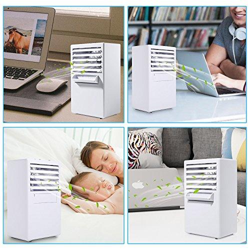 COMLIFE Tragbare Klimaanlage, Luftbefeuchter/Luftkühler/Persönlicher Mini Tischventilator 3 in 1, Aircooler Klimagerät mit 3 Geschwindigkeitsstufen für Büro Zuhause