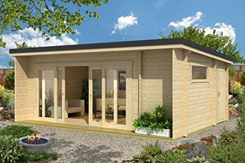 Preisvergleich Produktbild Gartenhaus G25 inkl. Fußboden - 44 mm Blockbohlenhaus,  Grundfläche: 23, 70 m²,  Pultdach