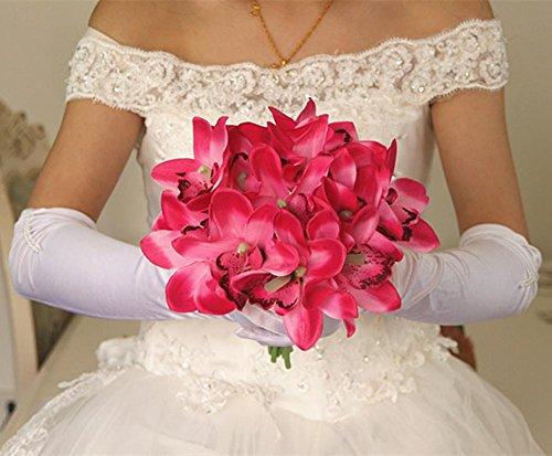XYLUCKY Cymbidium Simulation Brautstrauß halten Blumen Wohnzimmer Tisch und Haus Vase Blumen-Arrangement (2 Stück) , rose red
