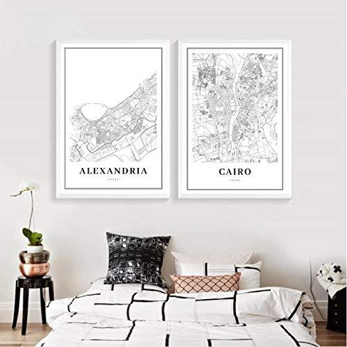 kldfig Kairo kaart poster afdrukken Alexandria Egypte Gizeh Arab Afrika stad straatkaart canvas schilderij wandschilderijen kantoor wooncultuur -40 * 50 cm niet ingelijst-2 stuks