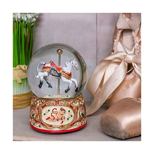 Elanze Designs Gilded Gold Tone Cupid and Carousel Horse 100MM Musical Water Globe Plays Tune Unchained Melody 4