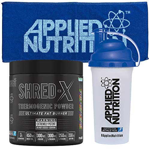 Applied Nutrition Bundle Shred X Thermo Powder + 700ml Shaker + Gym Towel | Weight Loss, Fat Burner with Green Tea, L Carnitine, Thermogenic Energy Detonator Supplement 300g (Sour Gummy Bear)