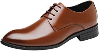 Inlefen Men Breathable Leather shoes Pointed Elastic band Wedding shoes Plus size Men's shoes