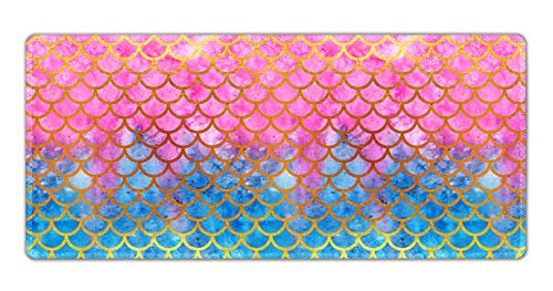 Extended Gaming Mouse Pad Mat with Stitched Edge- Large Desk Mat Non-Slip Water-Resistant Rubber Base Computer Keyboard Mouse Mat, 35.4 x 15.75 Inch XXL, Ideal for Work & Game (Mermaid Scale)
