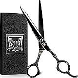 Professional Hair Scissors - Home Hair Cutting Scissors, Razor Edge Hair Cutting Shears with Extremely Sharp Blades - Stainless Steel Barber Haircut Scissors for Man & Woman - Black - 6.5inch