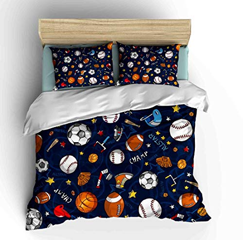 SHINICHISTAR Boys Comforter Set,Baseball and Football Bedding Full Size for Teens,Sports Fans.