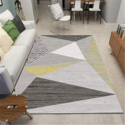 DJHWWD Rugs Carpet gray fuzzy large triangle geometric pattern anti-slip rug durable Office Chair Mat For Carpet Bedroom Rugs grey 140X200CM