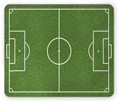 Ambesonne Teen Room Mouse Pad, Soccer Field Grass Motif Stadium Game Match Winner Champion Sports Area, Rectangle Non-Slip Rubber Mousepad, Standard Size, Fern Green
