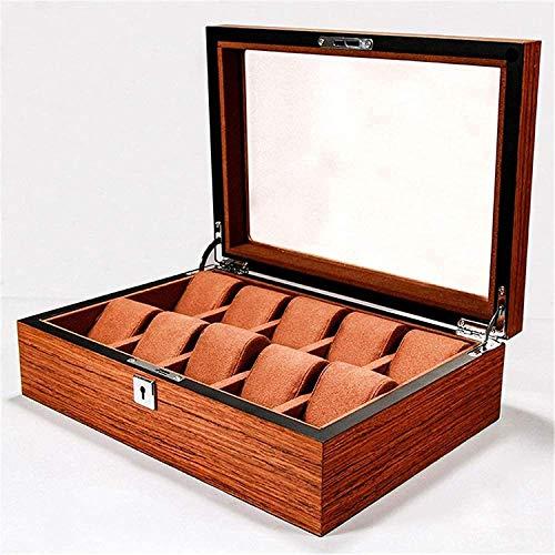 MQJ Aufbewahrungsbox Holz Uhrenbox Anzeigen Aufbewahrungskoffer Mit Schloss 10 Bit Schmuck Aufbewahrungsbox Tragbare Reisekoffer Mode/Braun/Eins Größe,Braun,Einheitsgröße