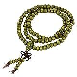 Gaoominy 6mm Collar de Madera de Sandalo de Rosario de Budista Cuentas de oracion Verde Oliva 2pzs