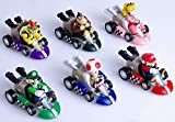 6 Pcs Mini Mario Kart Pull Back Cars Cake Topper Figures Toy Set (2')-Kids Birthday Party Cake Decoration Supplies
