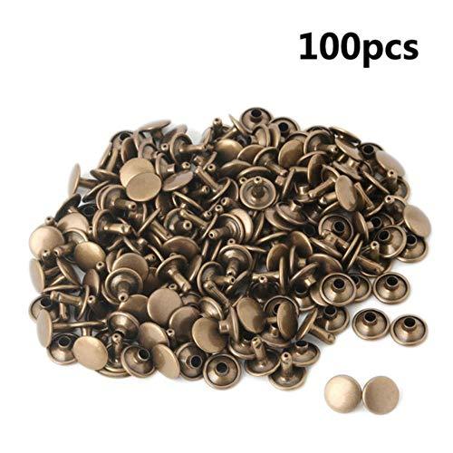100 stks Fixing Tools voor Jassen Riemen Jeans Tassen Kleding Stof/Weefsel Leer Craft Accessoires Gereedschap 6 * 6mm Rivet Nagels L Antiek messing