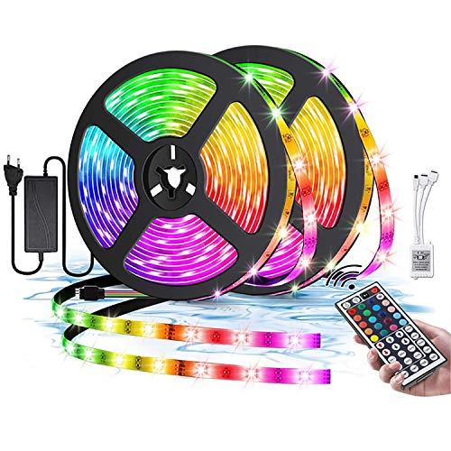 Luces LED RGB 5050, Tiras LED Kit con Control Remoto de 44 Botones, 20 Colores 8 Modos de Brillo y 6 opciones DIY para la Habitación, Dormitorio, Techo (Size : 10M)