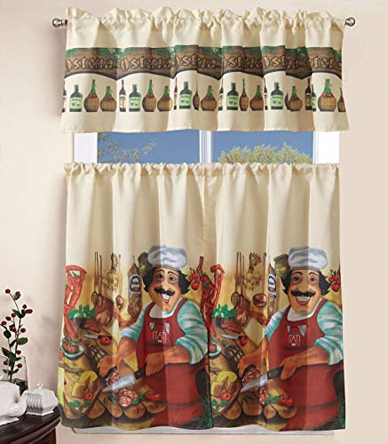 """Sapphire Home 3 Piece Kitchen Curtain Linen Set with 2 Tiers 27"""" W (Total Width 54"""") x 36"""" L and 1 Tailored Valance 54"""" W x 15"""" L, Tucancy Italy Chef Pizza Cooking Design Kitchen Curtain Décor Linen"""
