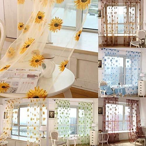 JoyRolly Cortinas de decoración Moderna Girasol Sheer Tul Ventana Cortina Cenefa Puerta Divisor de habitación Cortina decoración-Azul 100x200 cm Yellow 100 X 200 Cm