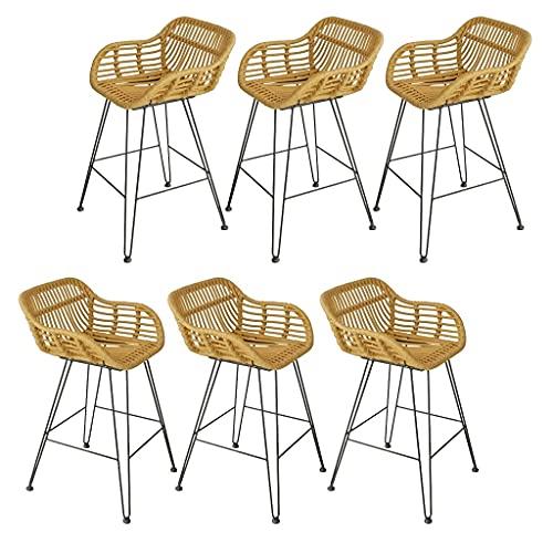 LYRWISHPB - Sgabello da bar, stile moderno, minimalista, per sala da pranzo, sedia da bar, schienale in metallo, tessuto di vimini, per cucina, colazione, sala da pranzo