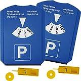 yaoviz® 2 Stück 5in1 Auto Parkscheibe mit Parkuhr Eiskratzer Gummiabzieher Einkaufswagenchip Reifenprofilmesser blau