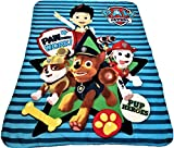 Paw Patrol Chase and Marshall Blue Throw White Polka Dotted Blanket