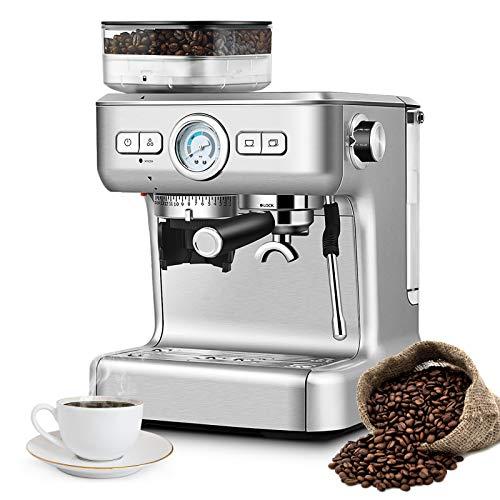 DREAMADE Macchina Automatica da Caffè Professionale, Macchinetta Domestica e Commerciale con Serbatoio, Filtro 1 e 2 tazze per Espresso, Cappuccino e Caffè Americano, 34 x 33 x 39,5 cm, Argento