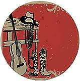 Not Applicable Tapis de Souris Rond en Caoutchouc antidérapant Western Image des éléments du Far West avec Guitare Country et Bottes de Cowboy rétro Art décoratif Beige Orange 7.9'x7.9'x3MM