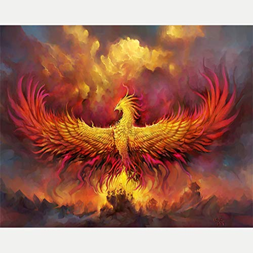 Paint by Number Kits - Golden Phoenix 16x20 Inch Linen Canvas Paintworks - Digital Oil Painting Canvas Kits for Adults Children Kids Decorations Gifts (with Frame)