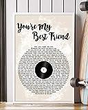 Kodora Decor You're My Best Friend Song Lyrics Grunge Vinyl Records Portrait Poster Print Wall Art (16' x 24')