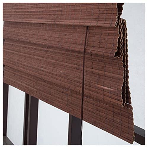 QYQS Maroon Patio Shades Roll Up Outdoor Bamboo Shades with Vanance Blackout Ruller Shutter Privacy tonalità di bambù per Patio Misura Personalizzabile(Size:80x140cm,Color:Tenda d onda)