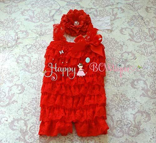Baby Girl's Flower Red Romper set ~ Girl's Valentine Red Romper Set- Baby Girl Red Romper