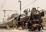 VLIES Fototapete-DAMPF-LOKOMOTIVE-416x254cm-4 Bahnen-(11388V3)-Inkl. Kleister-EASYINSTALL-PREMIUM-Tapete XXL Foto-Mural Poster Lok Zug Gleis Sepia Vintage Schwarz-Weiß Bahnhof Bahn Wald...