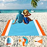 Aitey Sand Free Beach Blanket, Waterproof Beach Mat Compact Outdoor Blanket Ideal for Picnic, Travel, Hiking, Camping and Music Festivals with 4 Stakes, 4 Corner Pockets and Bag - 82'x 79'