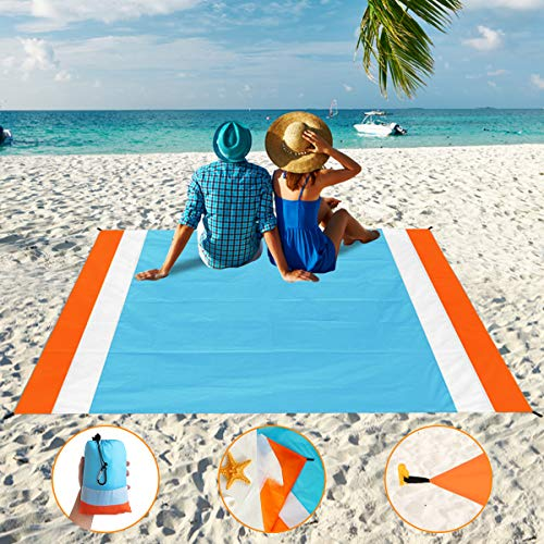 Sand Free Beach Blanket, Aitey Waterproof Beach Mat Compact Outdoor Blanket Ideal for Picnic, Travel, Hiking, Camping and Music Festivals with 4 Stakes, 4 Corner Pockets and Bag - 82x 79(Blue)