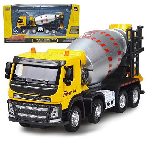 Xolye Metall-Mischer-LKW Modell 2 Farben Alloy Sound- und Lichttechnik-Träger-Spielzeug-Kind-Jungen ziehen Auto-Spielzeug-Boxed-Spielzeug-Auto (Color : Yellow)