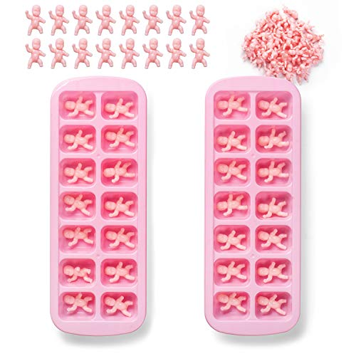 JUXINDA My Water Broke 36 Pieces of 1.2 Dolls and 2 Pieces of 14 grids Baby Shower Ice Cube Game (White)