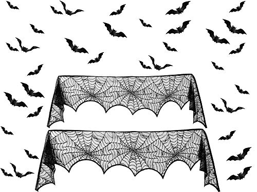 34 Pieces Halloween Decoration Set Includes 2 Pieces Black Lace Spiderweb Fireplace Mantle Scarf Cover and 32 Pieces 3D Bats Wall Sticker PVC Scary Wall Decal for Halloween Party Supplies