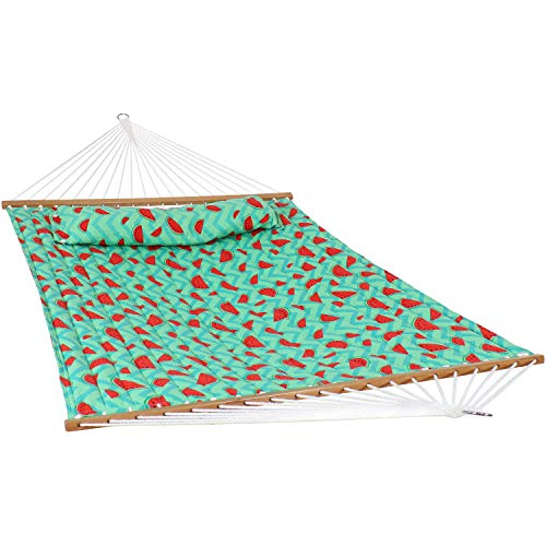 Sunnydaze 2-Person Quilted Watermelon Printed Fabric Spreader Bar Hammock and Pillow - Large Modern Hammock with Hanging Chains - Heavy Duty 450-Pound Weight Capacity - Watermelon and Chevron