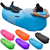 SKOLOO Inflatable Lounger for Adults, Portable Outdoor Bed Lounger Couch for Backyard Pool Travel Camping Hiking Lakeside Picnics Music Festivals Beach Parties,Blue