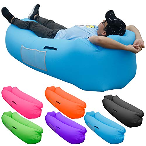 SKOLOO Inflatable Lounger Air Sofa, Portable Water Proof Anti-Air Leaking & Pillow-Shaped Designed Couch for Backyard Pool Travel Camping Hiking Lakeside Picnics Music Festivals Beach Parties,Blue