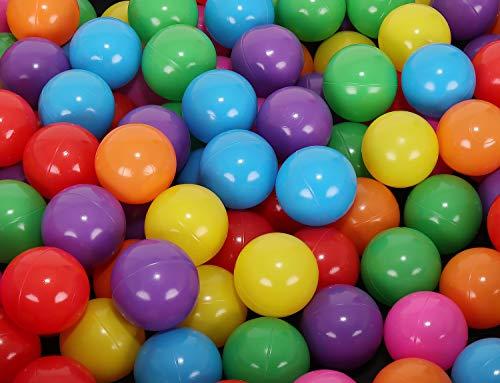 MT MALATEC Kinder Bälle für Bällebad Ø5cm Plastikbälle Spielbälle für Kinder Ballpool 100/200/500/1000 Stück DREI Farben 9268, Farbe:Bunt, Menge:100